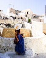 Tradicionalne bele hiške z modrimi vrati | Megalochori, Santorini, Grčija